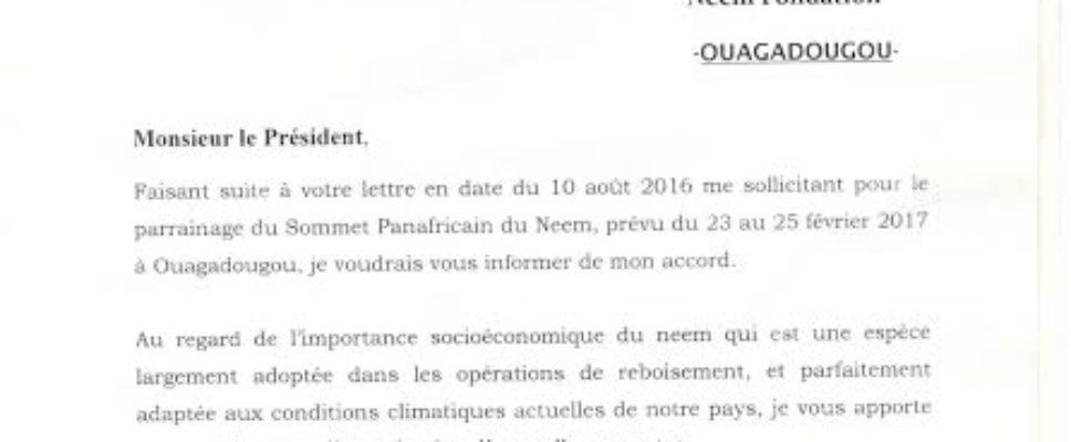Lettre officielle de Parrainage du gouvernement Burkinabe